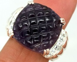 CARVED AMETHYST  SILVER RING  51.90 CTS  SIZE- 6.5   RJ-261