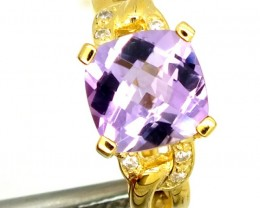 AMETHYST GOLD PLATED SILVER RING 15.40  CTS  SIZE-6.50    RJ-305