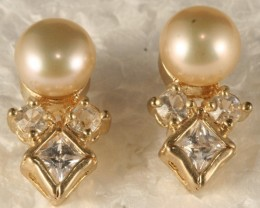 18k Gold/P Alloy Earring With F/W Pearl SE-12
