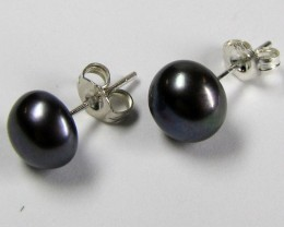 UNIQUE 8X8 BLACK PEARL   STERLING SILVER EARRING   GTJA 263