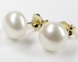 FREE SHIPPING DYNASTY 14 K GOLD 7 MM  PEARL EARRING STUD   JAO 16