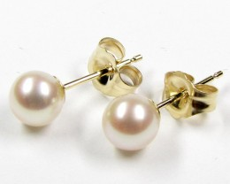 DYNASTY 14 K GOLD 5 MM  PEARL EARRING STUD   JAO 17