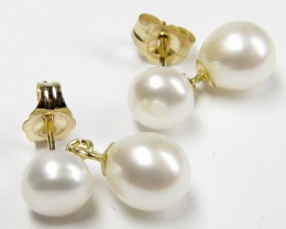 DYNASTY 14 K GOLD DUAL  PEARL EARRING STUD   JAO 22