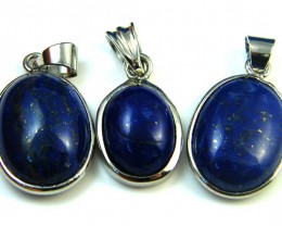 THREE CABOCHON LAPIS SET IN  PENDANTS  AAA2098