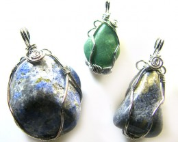 3  LAPIS N ADVENTURINE   WIRE WRAP   PENDANTS   AG 1141