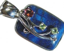 LAPIS  SILVER PENDANT  WITH NATURAL STONES 51.10 CTS[GT1151]4
