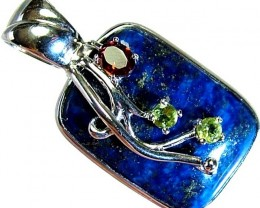 LAPIS  SILVER PENDANT  WITH NATURAL STONES 53.05 CTS[GT1155]
