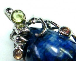 LAPIS  SILVER PENDANT  WITH 3 TOURMALINES 36 CTS [GT 1238]