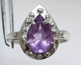 Faceted Pear Amethyst  in Silver Ring size 7  MJA 505