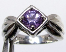 Cute  Amethyst  in Silver Ring size   7  MJA 510
