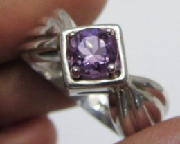 Cute Amethyst  in Silver Ring size  7.5  MJA 512