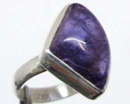 Freeform cab Amethyst  in Silver Ring size 7  MJA 513