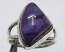 Freeform Cab Amethyst  in Silver Ring size 6   MJA 514
