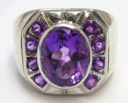 Attractive Amethyst   Silver Ring size   7     MJA 779
