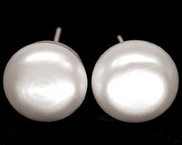 PEARL EARRING 10.50 CARAT WEIGHT STERLING SILVER POST LARGE