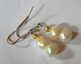 NICE EARRINGS ,NATURAL BAROQUE PEARLS WITH SILVER AND GOLD