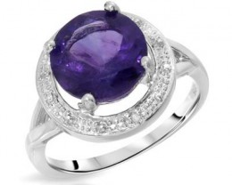 NEW RING WITH GENUINE AMETHYST AND DIAMONDS SET IN 925 STE