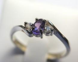5mm x 3mm AmethystSolid 925 Silver Dress Ring