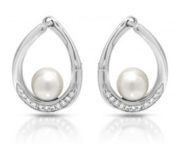 NEW EARRINGS WITH GENUINE 6MM FRESHWATER PEARLS AND TOPAZES