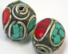 NEPAL BEAD PARCEL-CORAL TURQUOISE 39.25 CTS [SJ1511]