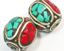 NEPAL BEAD PARCEL-CORAL TURQUOISE 38.20 CTS [SJ1512]