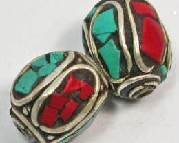 NEPAL BEAD PARCEL-CORAL TURQUOISE 35.45 CTS [SJ1513]