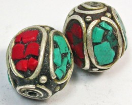 NEPAL BEAD PARCEL-CORAL TURQUOISE 35.60 CTS [SJ1515]