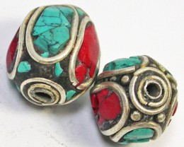 NEPAL BEAD PARCEL-CORAL TURQUOISE 36.85 CTS [SJ1516]