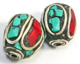 NEPAL BEAD PARCEL-CORAL TURQUOISE 42.30 CTS [SJ1519]