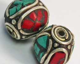 NEPAL BEAD PARCEL-CORAL TURQUOISE 35.90 CTS [SJ1521]