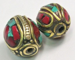 NEPAL BEAD PARCEL-CORAL TURQUOISE 33.25 CTS [SJ1525]