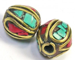 NEPAL BEAD PARCEL-CORAL TURQUOISE 27.90 CTS [SJ1532]