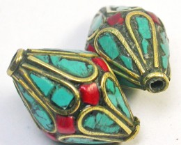NEPAL BEAD PARCEL- CORAL TURQUOISE 37.95 CTS [SJ1562]