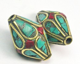 NEPAL BEAD PARCEL- CORAL TURQUOISE 35.95 CTS [SJ1563]