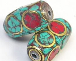 NEPAL BEAD PARCEL- CORAL TURQUOISE 25.80 CTS [SJ1567]