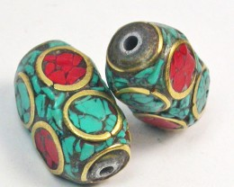 NEPAL BEAD PARCEL- CORAL TURQUOISE 25.70 CTS [SJ1570]