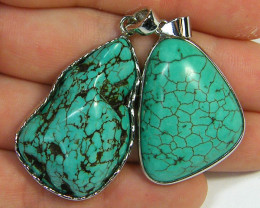 TWO TURQUOISE COLOUR  SET IN  PENDANT  AAA2395