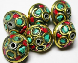 105.00 CTS NEPAL BEAD PARCEL- CORAL TURQUOISE  [SJ2605]