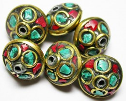100.00 CTS NEPAL BEAD PARCEL- CORAL TURQUOISE  [SJ2606]