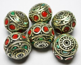 205.00 CTS NEPAL BEAD PARCEL- CORAL TURQUOISE  [SJ2610]3