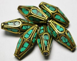 90.00 CTS NEPAL BEAD PARCEL- TURQUOISE  [SJ2617]
