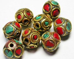 95.00 CTS NEPAL BEAD PARCEL-CORAL TURQUOISE  [SJ2642]