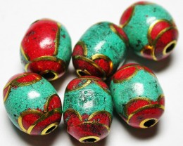 80.00 CTS NEPAL BEAD PARCEL-CORAL TURQUOISE  [SJ2652]