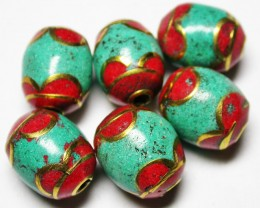 85.00 CTS NEPAL BEAD PARCEL-CORAL TURQUOISE  [SJ2655]