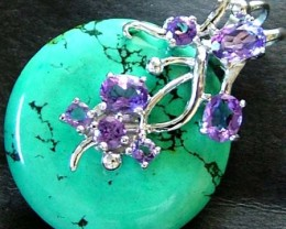 TURQUOISE PENDANT + 7 AMETHYST STONES 40.10 CTS [GT1443 ]