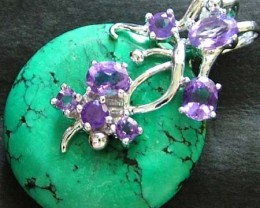 TURQUOISE PENDANT + 7 AMETHYST STONES 47.10 CTS [GT1446 ]
