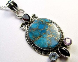 TURQUOISE SILVER PENDANT 55 CTS MGMG 39