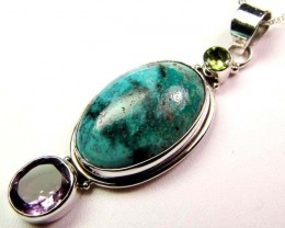 TURQUOISE SILVER PENDANT 57.90 CTS MGMG 40