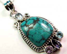 TURQUOISE SILVER PENDANT 52.45 CTS MGMG 41