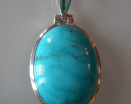 VERY NICE SILVER PENDANT WITH MEXICAN TURQUOISE